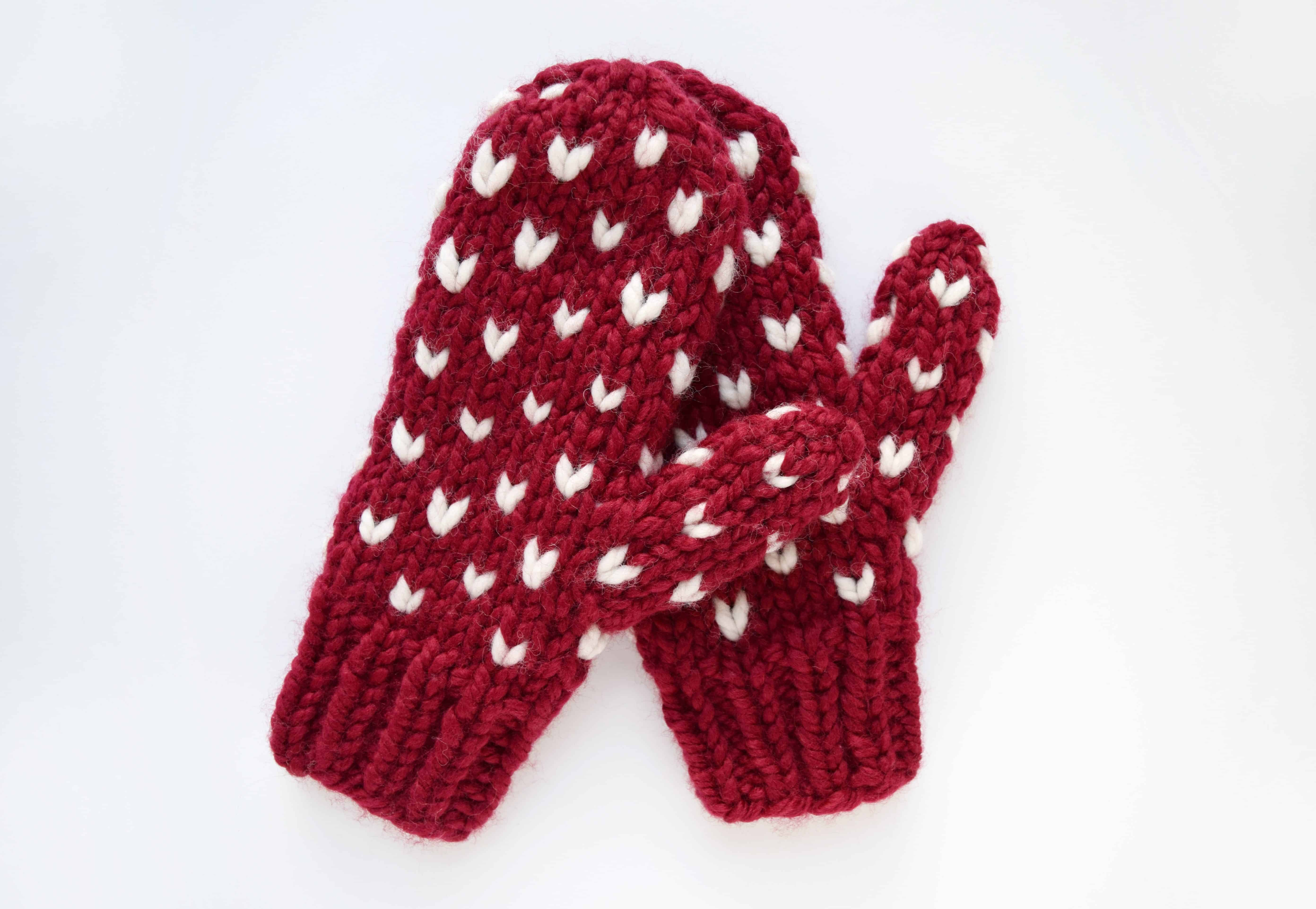 Little Hearts Mittens - Free Pattern - Knifty Knittings