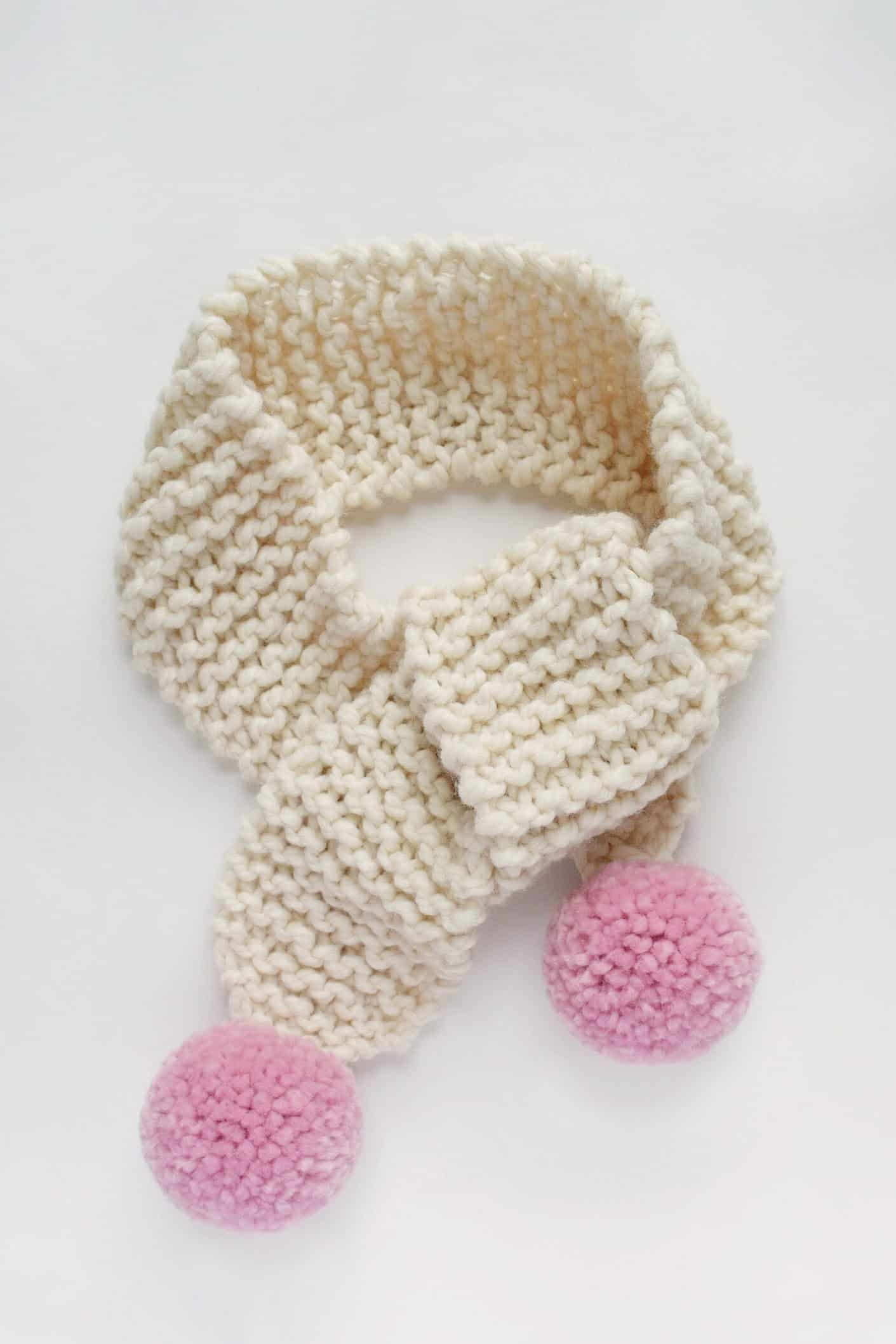 Knit Pom Pom Scarf - Free Pattern - Knifty Knittings