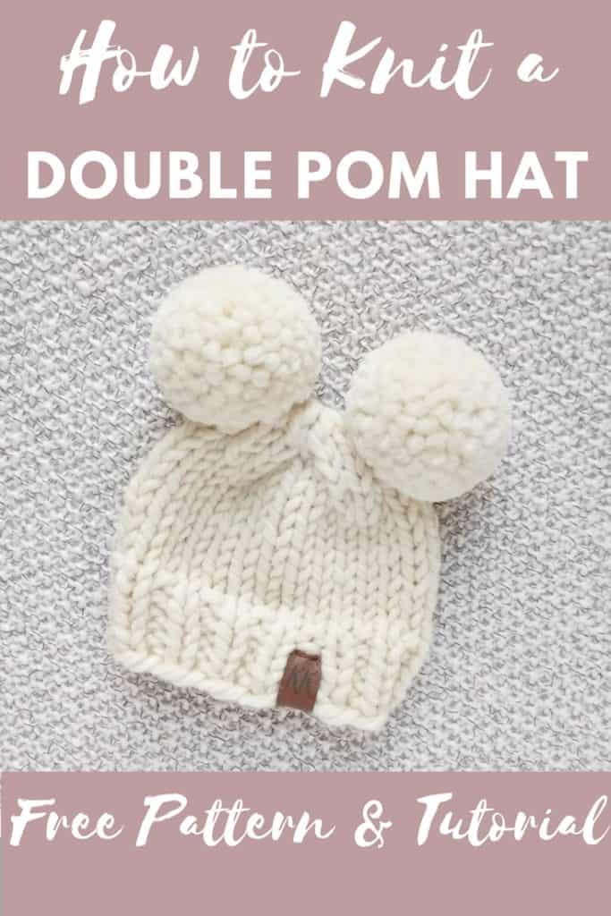 How to knit a double pom pom hat - Knifty Knittings