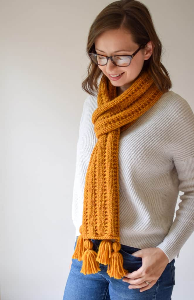 Jartiyer Rib Örgü Eşarp - Knifty Knittings and Yarnspirations'tan ücretsiz desen #knittingpatterns #freepattern #yarnspirations