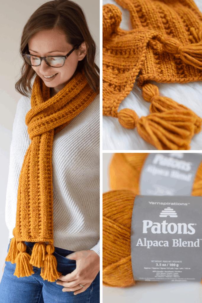 Jartiyer Ribana Örgü Eşarp - Yarnspirations sponsorluğunda Knifty Knittings'dan ücretsiz desen #knittingpatterns #freepattern #yarnspirations