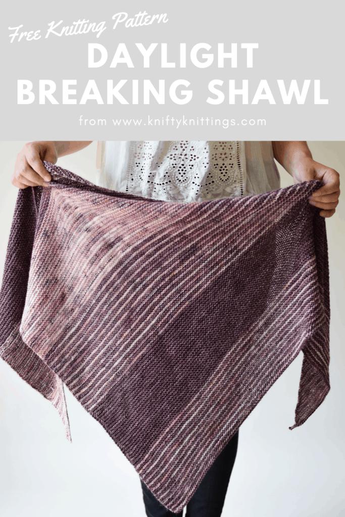 Daylight Breaking - www.kniftyknittings.com'dan ücretsiz şal örgü modeli #knittingpatterns #shawlpatterns #freeknittingpatterns